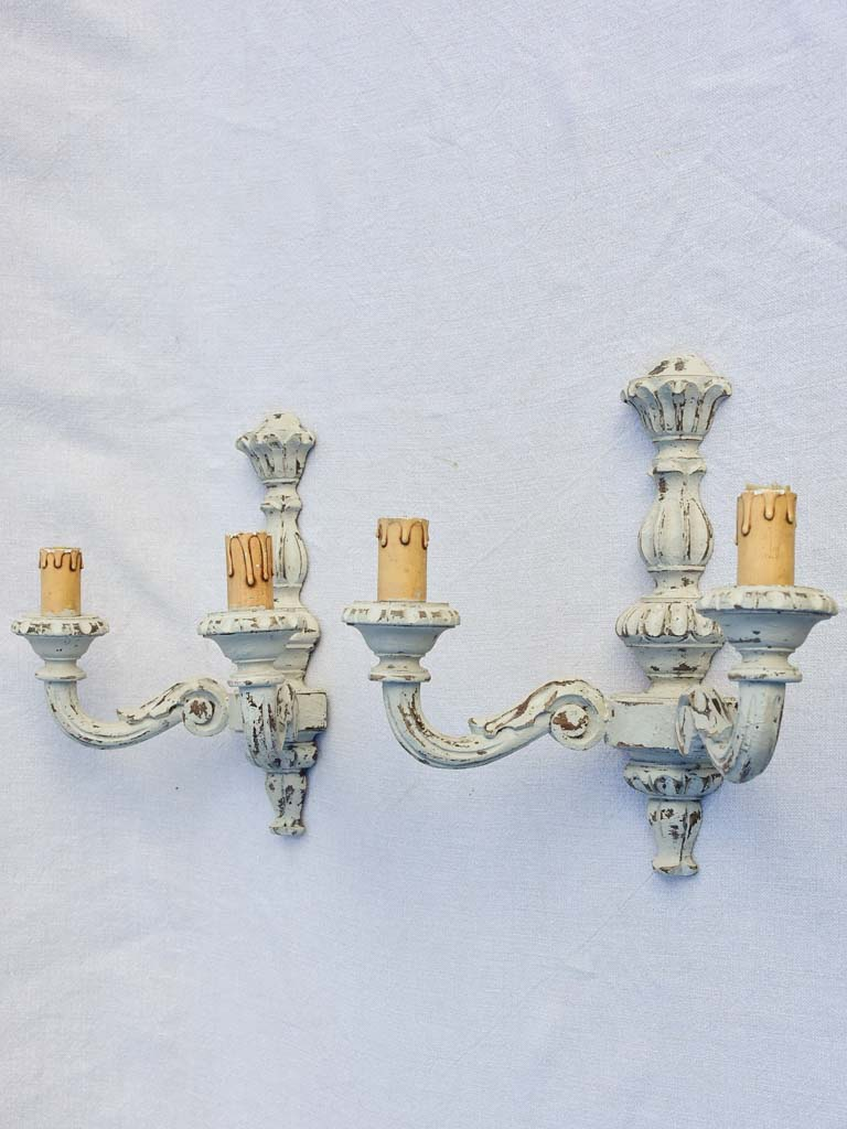 Pair of mid -century Italian wall sconces with gray patina 12¼""