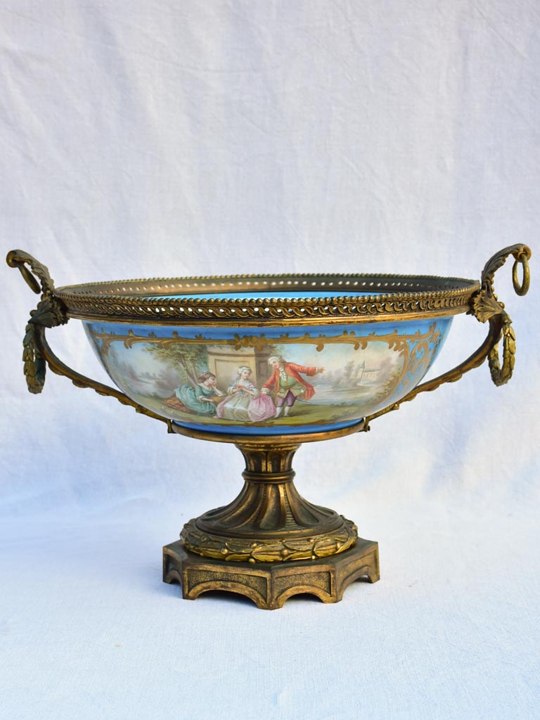 Large 19th Century French porcelain and bronze bowl - GHDEDREUX 14½""