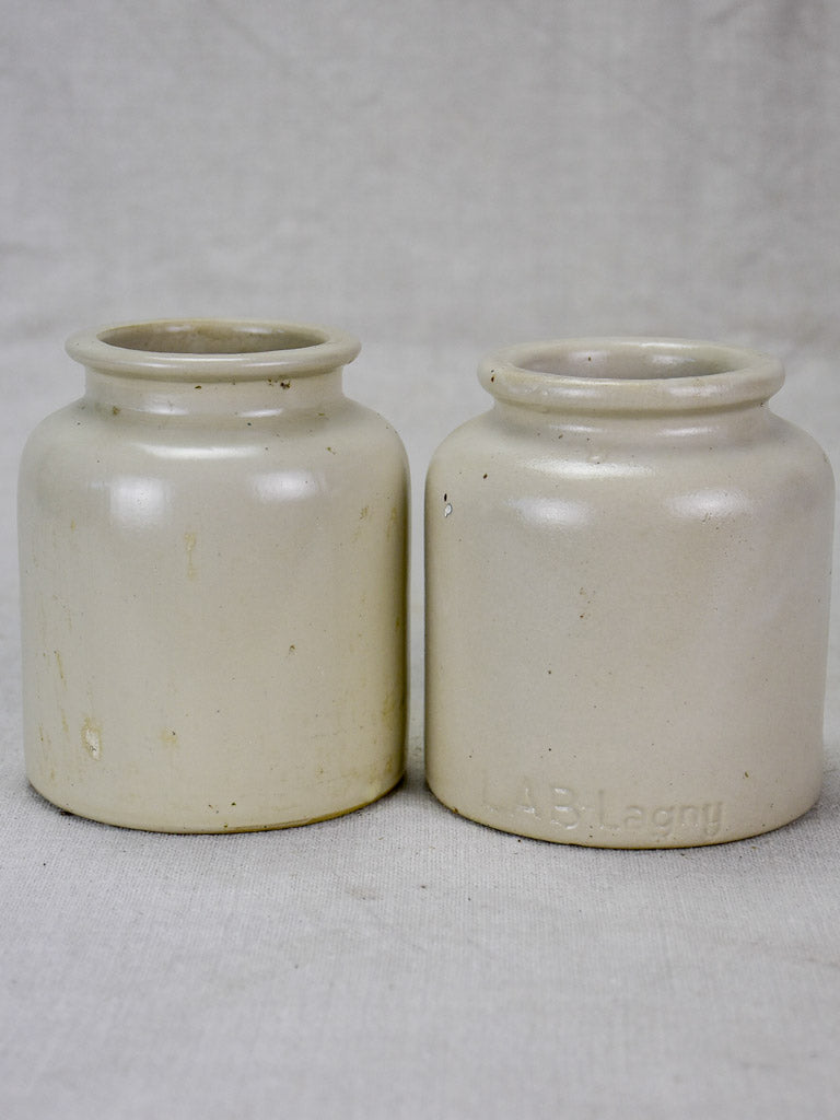 Pair of mid century sandstone pots - white 4¾""