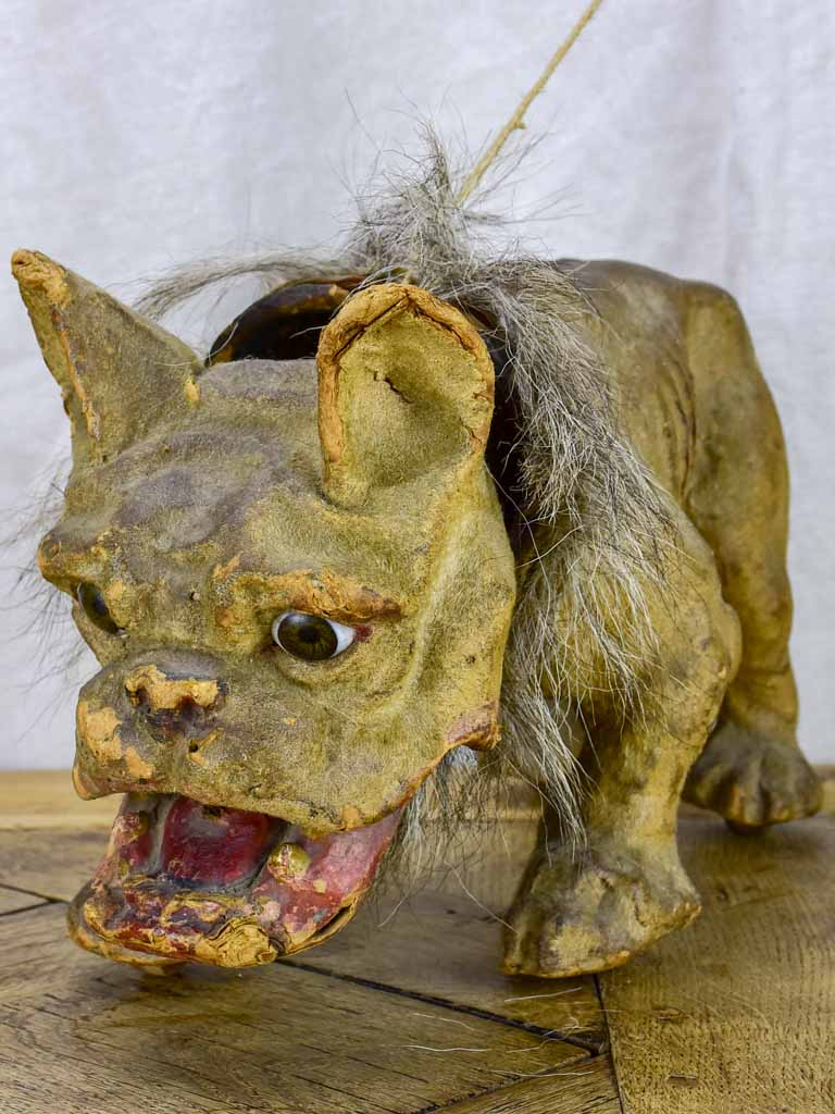 19th Century French bulldog pull toy - collector's item