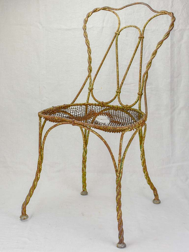 Very rustic 19th Century French garden chair - wrought iron
