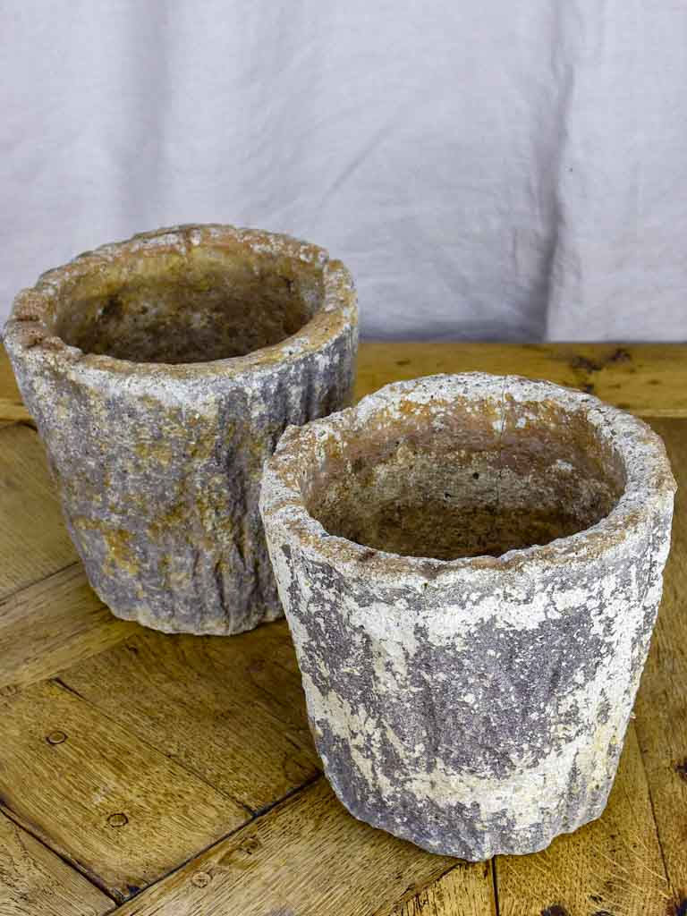 Pair of small faux bois flower pots - 1930's