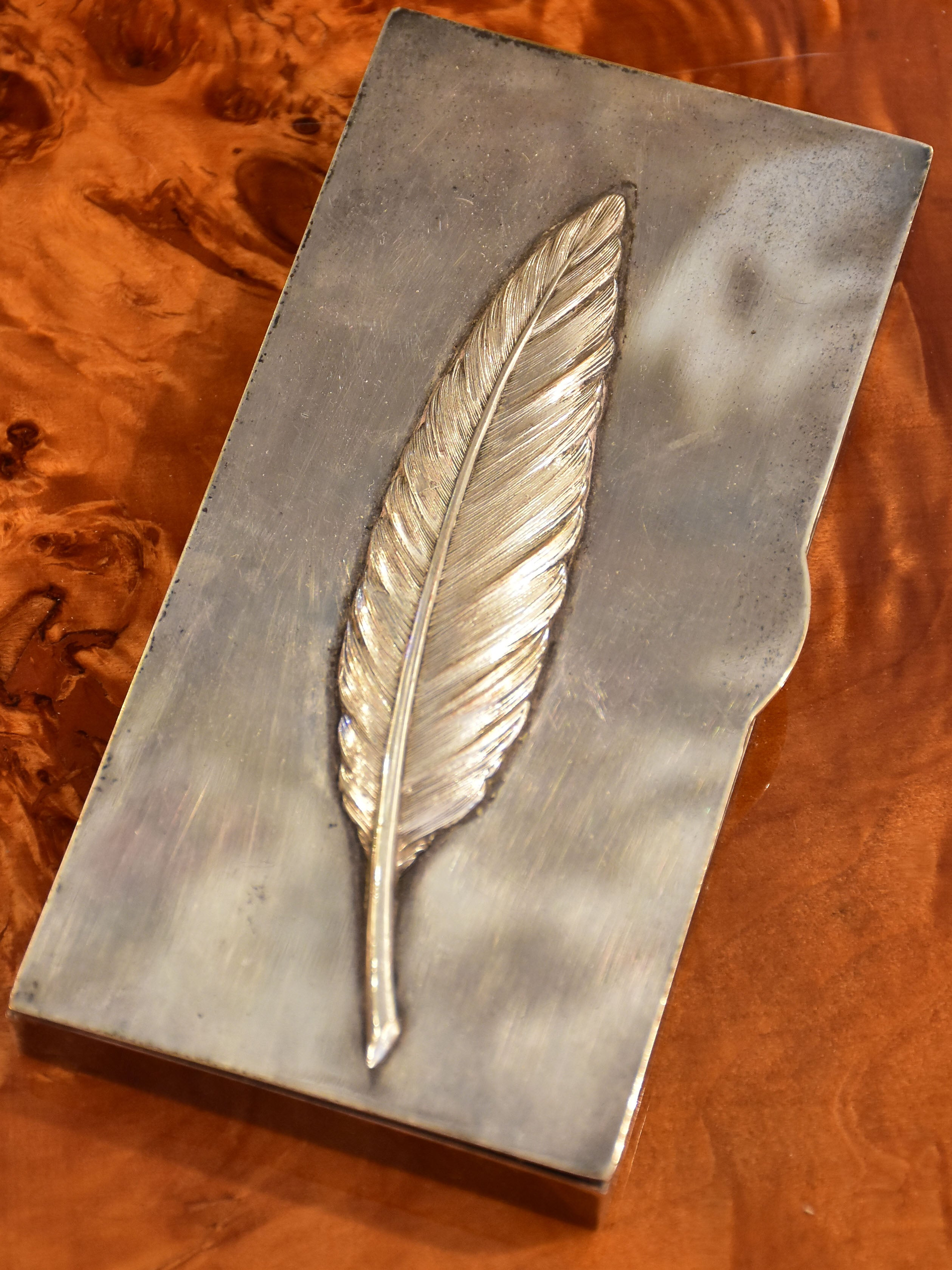 Vintage French cigarette case with embossed feather