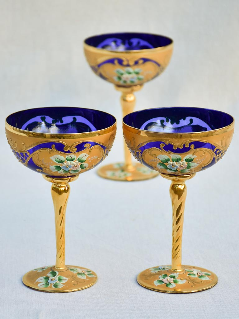 Collection of 3 cobalt blue hand-painted Italian prosecco glasses - early 20th-century 6¾""