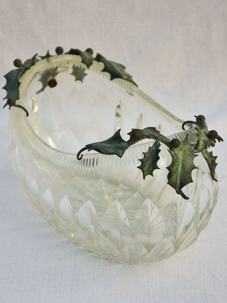 Early 20th century crystal bowl with holly decoration - oval