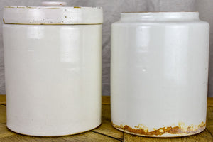 Two large antique French preserving pots 9""