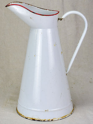 Mid century enamel pitcher - white with red rim 15""
