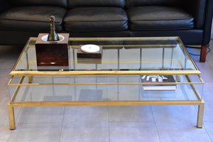 Vintage glass console and coffee table with sliding display case