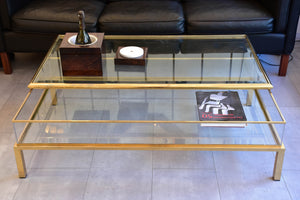 Vintage glass and brass coffee table with sliding display case