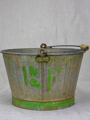 Mid century French winemaker's harvest bucket - zinc 15¼""