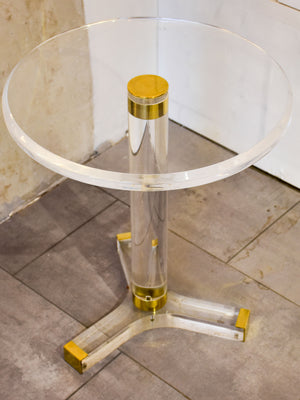 Vintage round side table in perspex and brass