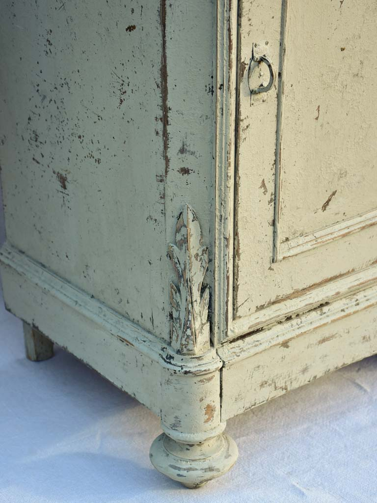 Pair of early 20th century Italian night stands with gray patina and black marble