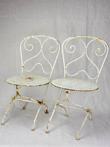 Pair of early 20th Century French children's folding garden chairs - white