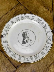 Antique French Parisian faience plate - Profile portrait Rechard