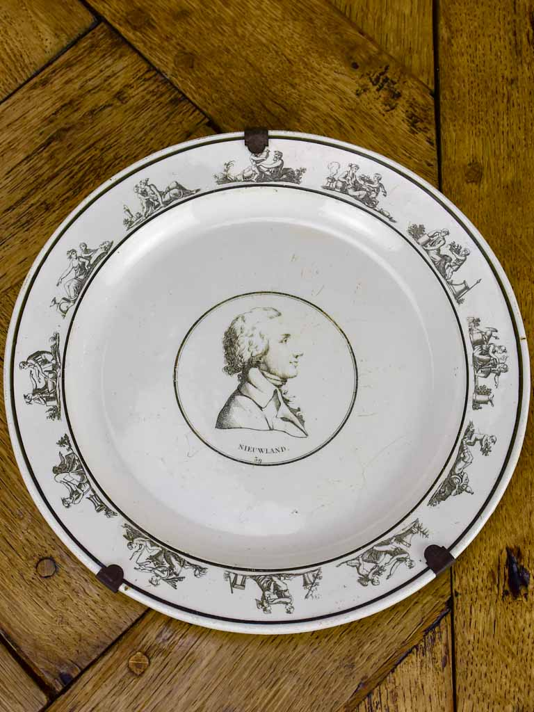 Antique French Parisian faience plate - Profile portrait Nieuwland