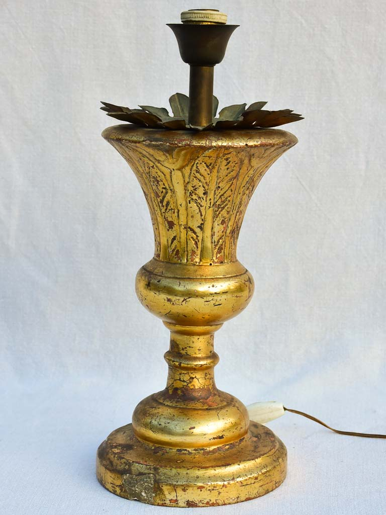 Empire style gilded Church candlestick lamp
