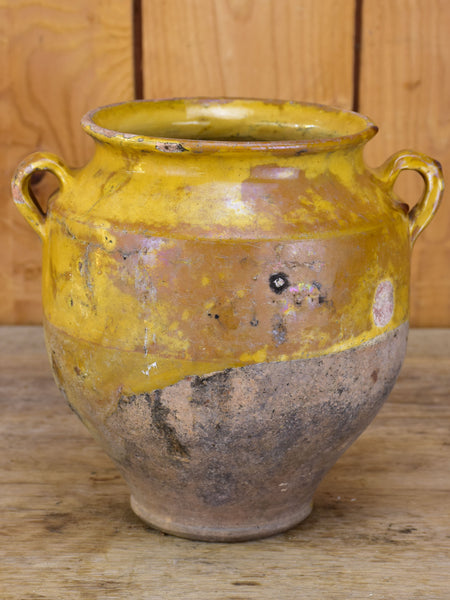 Antique French confit pot with orange glaze
