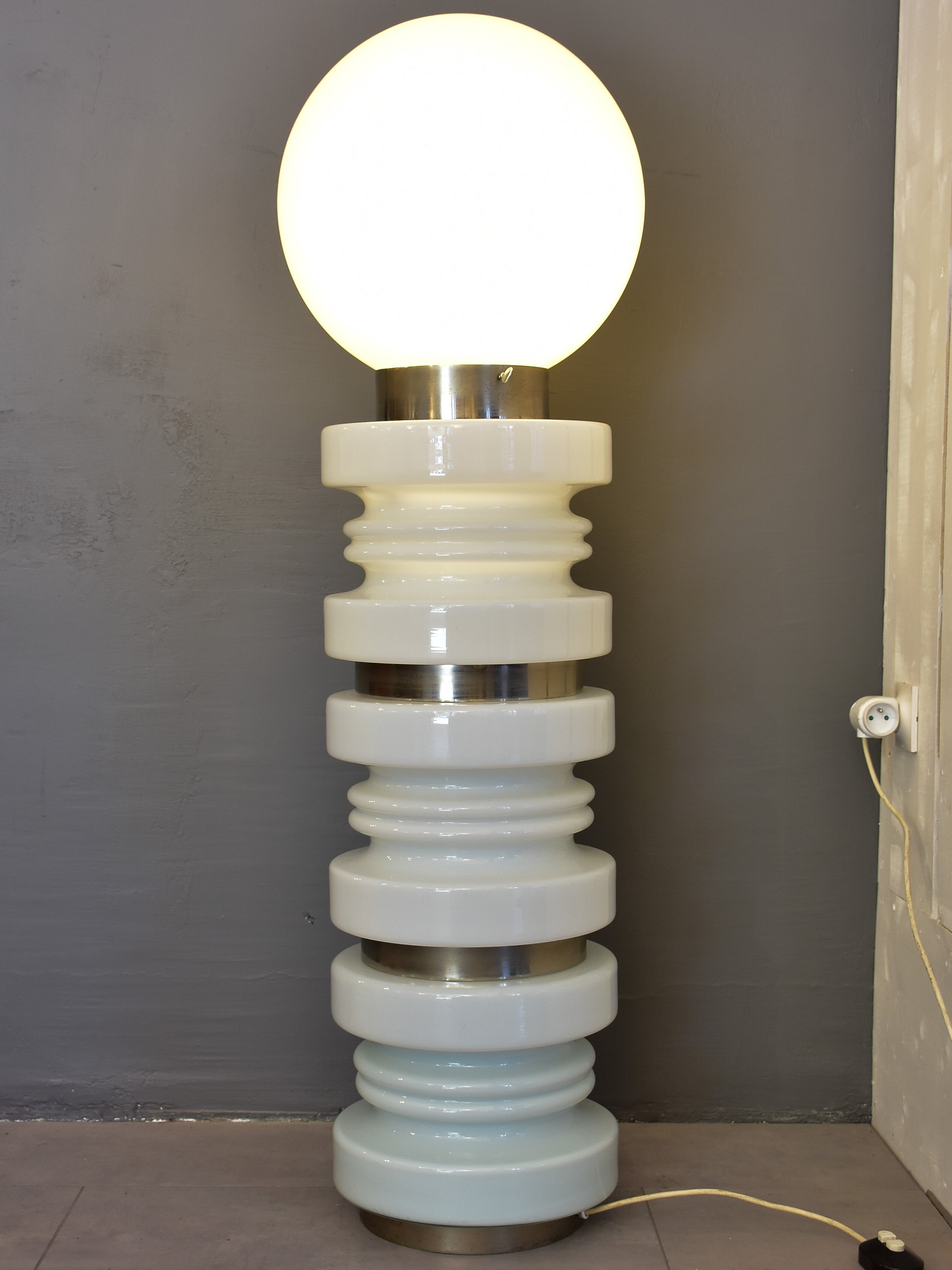 Vintage white glass Mazzega floor lamp