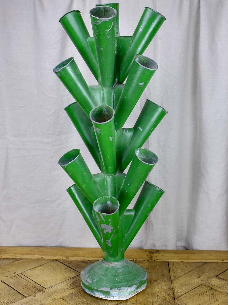 Large florist multi-vase display - zinc with green finish