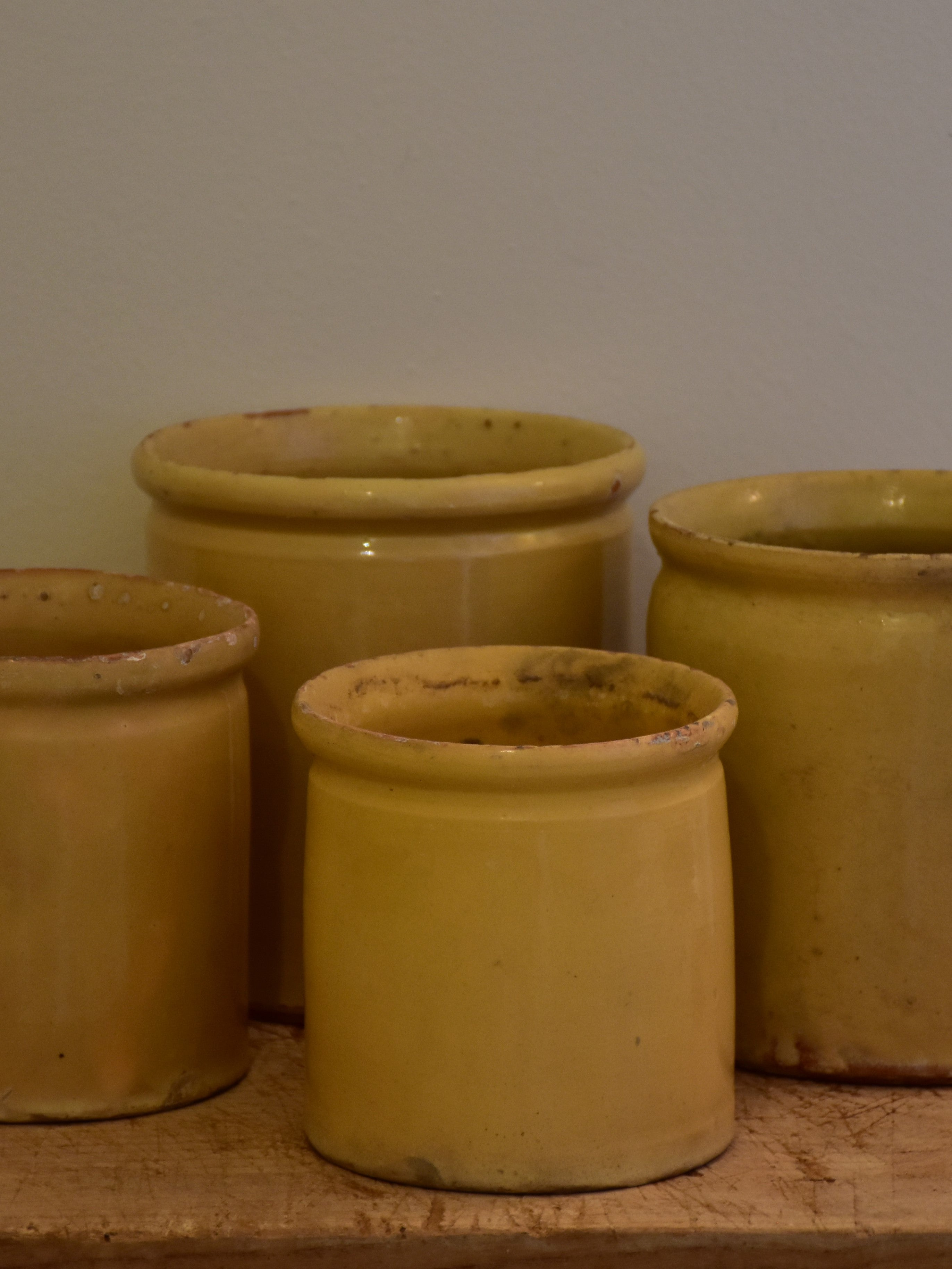 19th century French yellow ware preserving jar – four