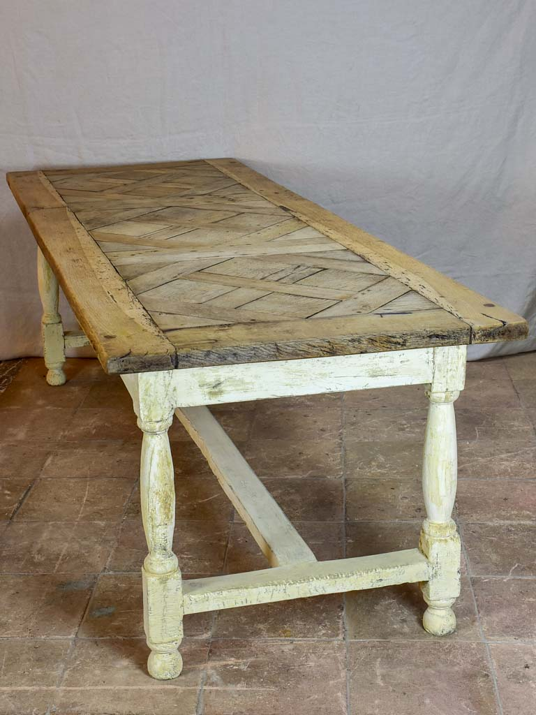"Antique French parquetry dining table - salvaged 18th Century oak floor 92½"" x 33"""