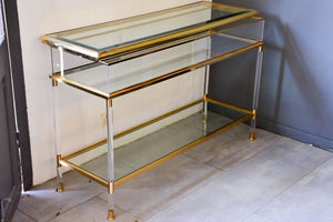 Vintage French console table with sliding display case