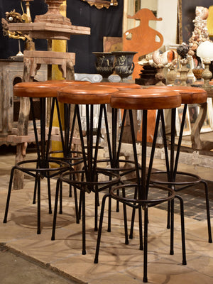 Set of mid-century French barstools with leather seats