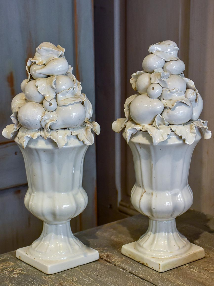 Pair of antique Italian porcelain fruit baskets