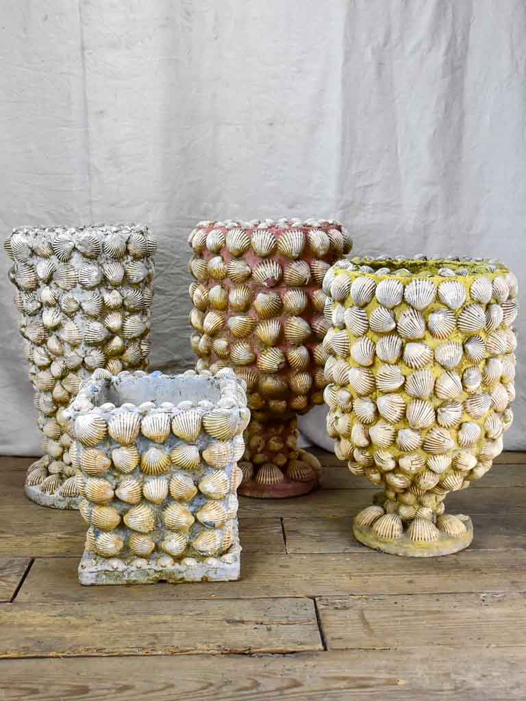 Collection of three mid century French garden planters with seashells