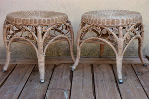 Pair of French vintage cane stools