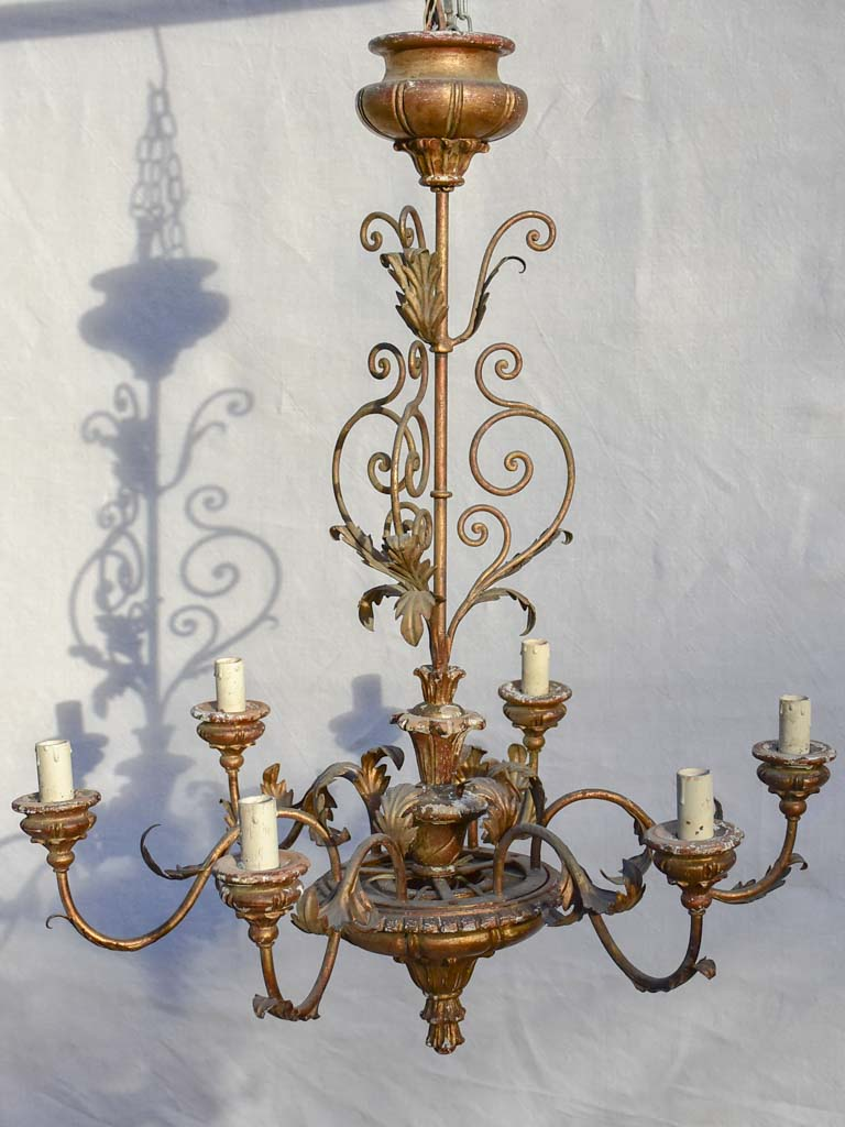 6-light Italian chandelier with leaf decorations 31½""
