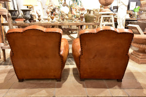 Pair of French chapeau gendarme back club chairs