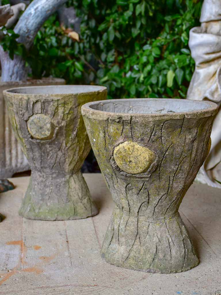 Pair of hourglass faux bois garden planters