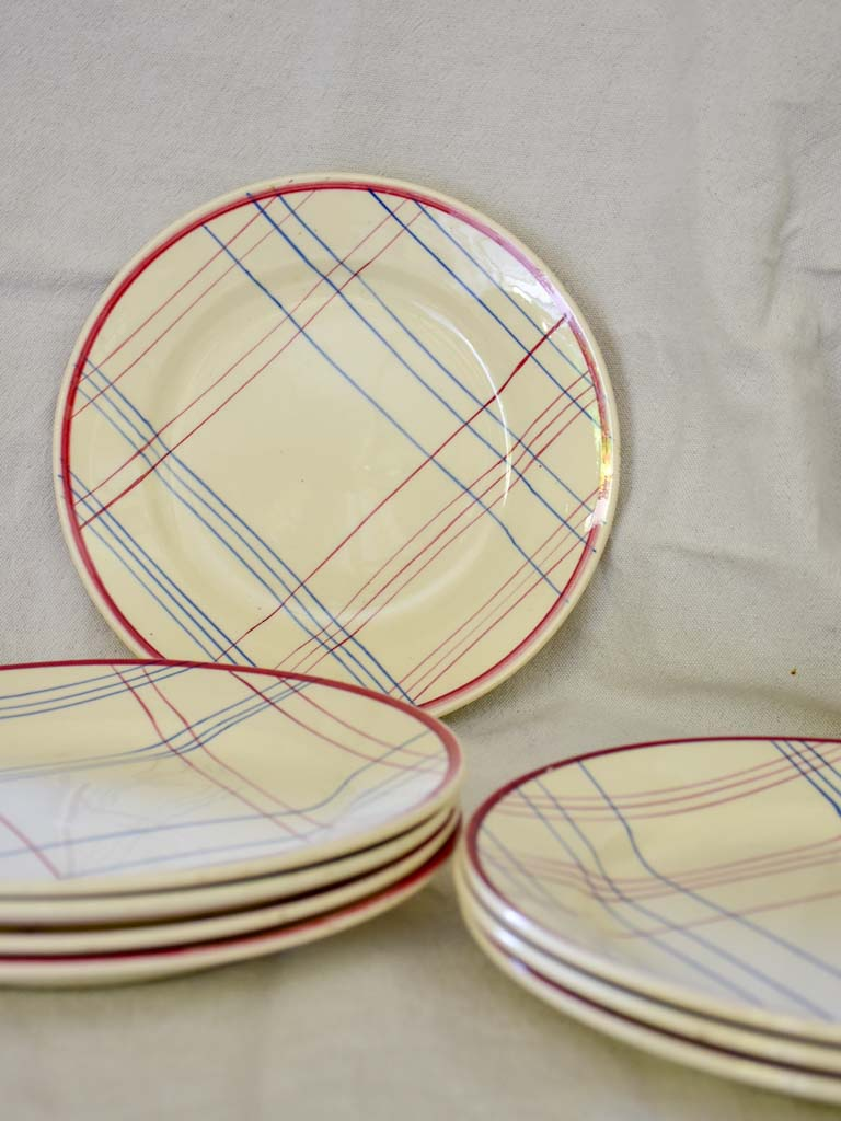 Set of Eight Gien hand painted checkered plates - Brigitte 9""