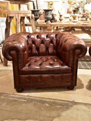 Pair of French chesterfield armchairs