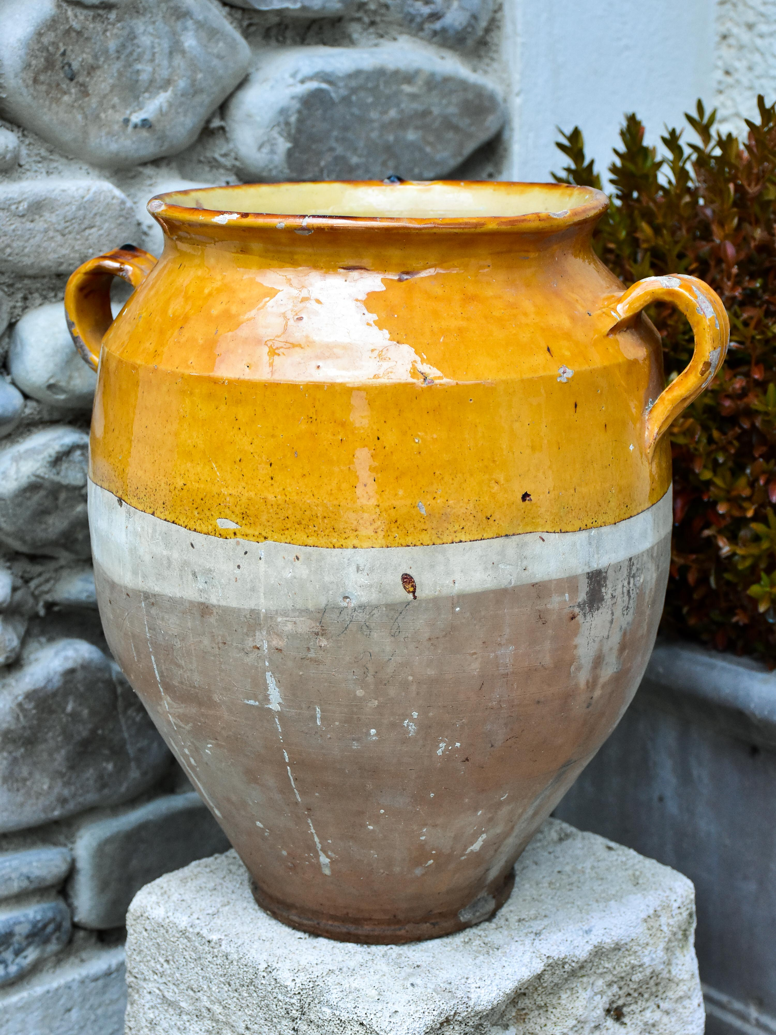 Very large 19th century French confit pot 14¼""