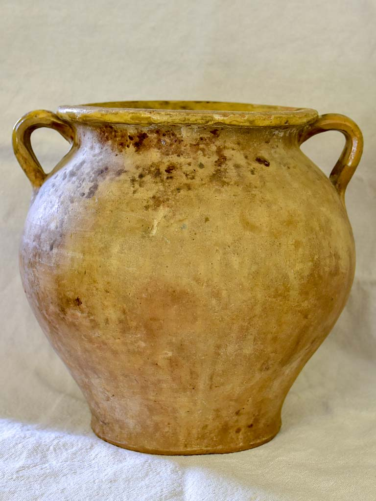 Rustic antique French confit pot - unglazed surface 9""