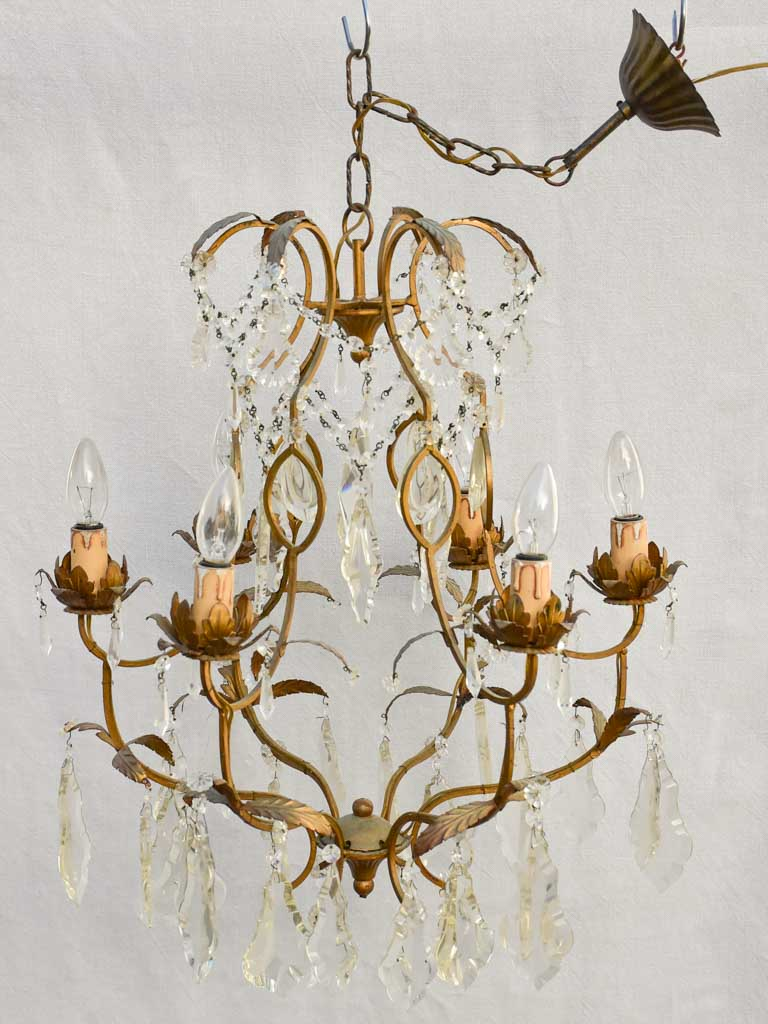 Pretty mid-century Italian crystal chandelier with 6 lights 27½""