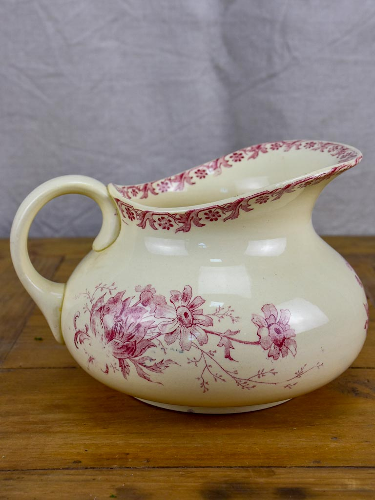 Antique French Sarreguemines pitcher - pink flowers