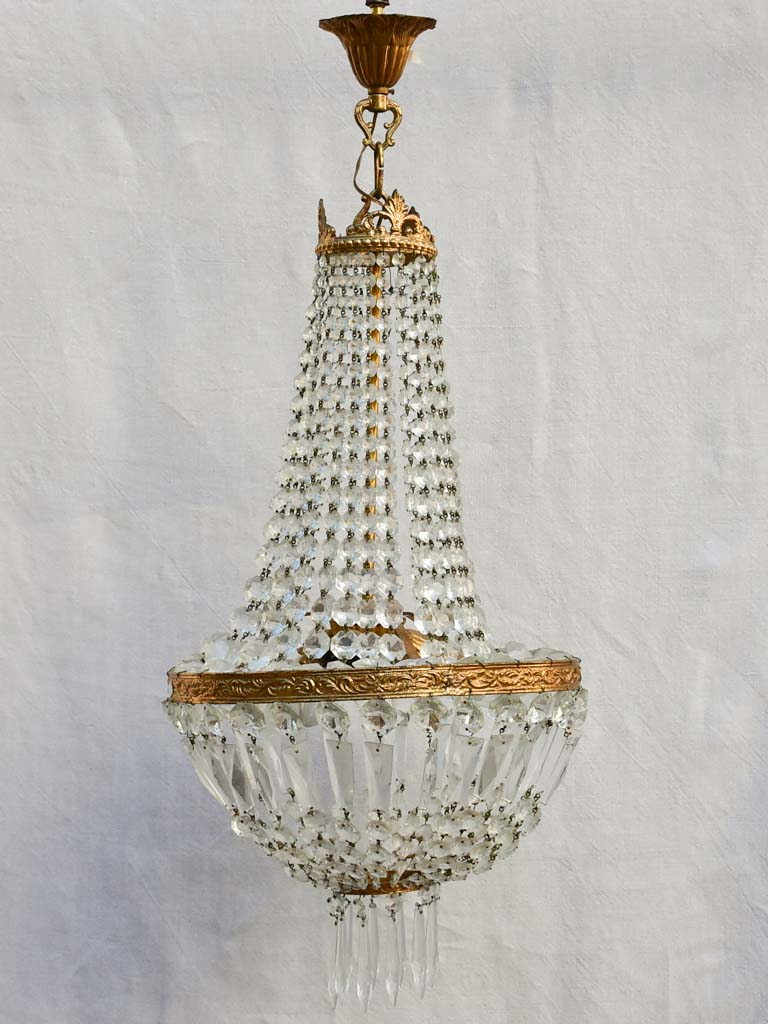 Mid century balloon-shaped semi-crystal and brass chandelier 27½""