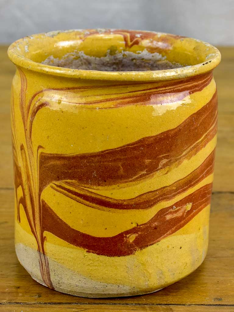 Antique French preserving pot from Apt with marble effect