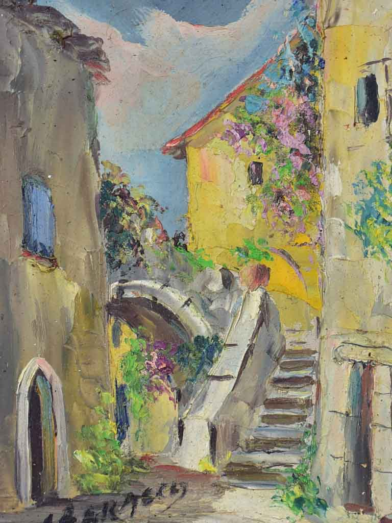 "Small vintage French painting of a Provencal village 8¾"" x 10¼"""