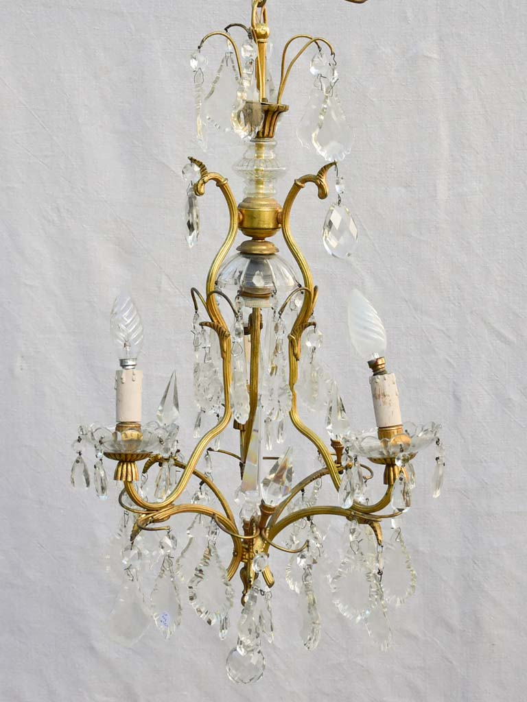 Mid-century Italian demi-crystal chandelier with 4 lights 25½""