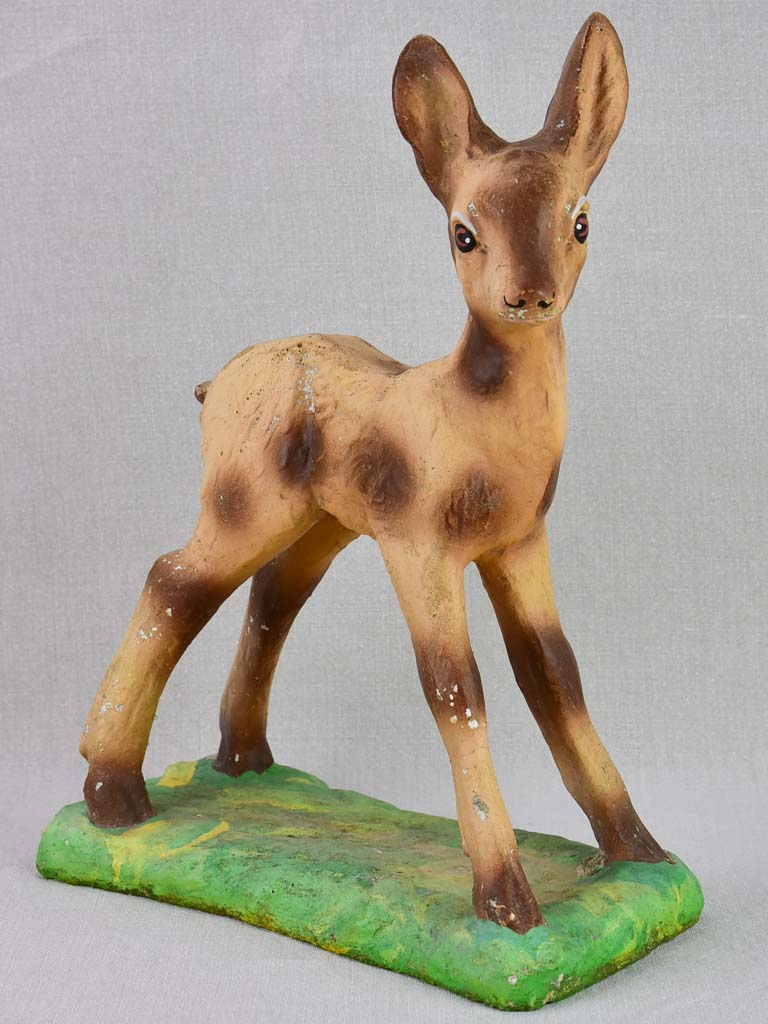 Mid-century French sculpture of a baby deer 17¼""