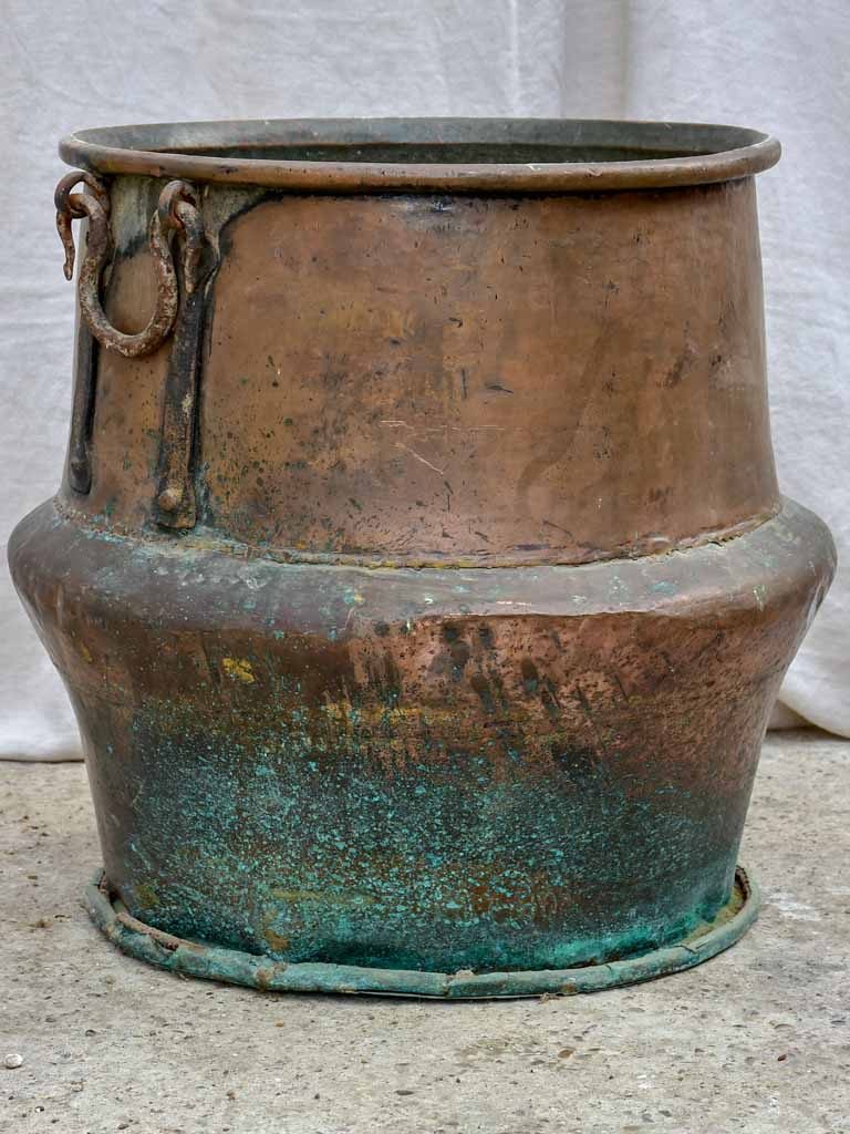 19th Century French chocolate copper cauldron 24¾""