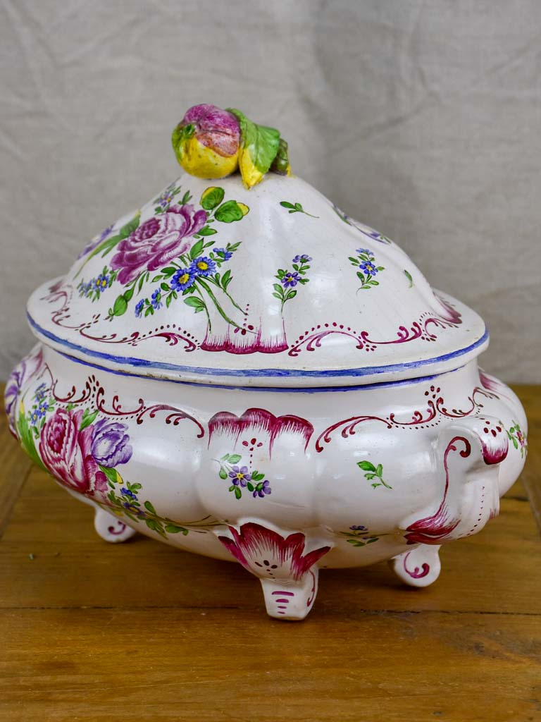 Antique French soup tureen attributed to Veuve Perrin, Marseille