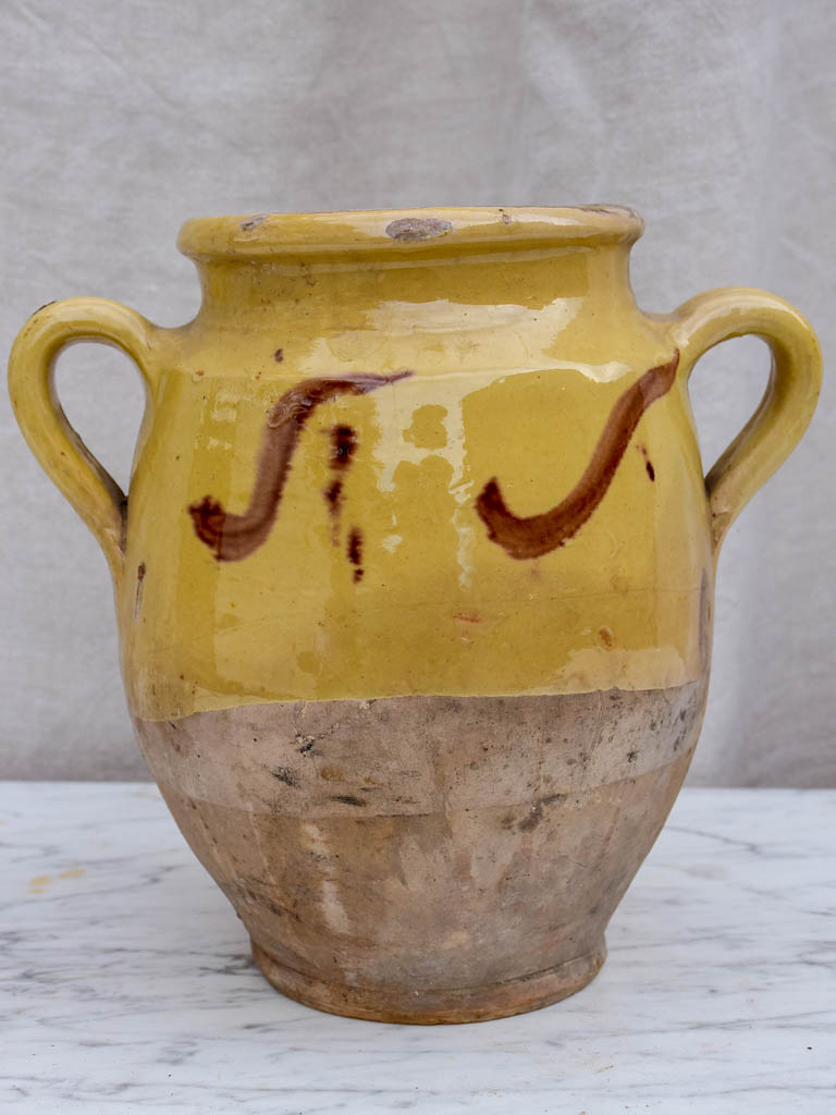 19th Century French confit pot from Provence with Yellow glaze and brown decoration 9½""
