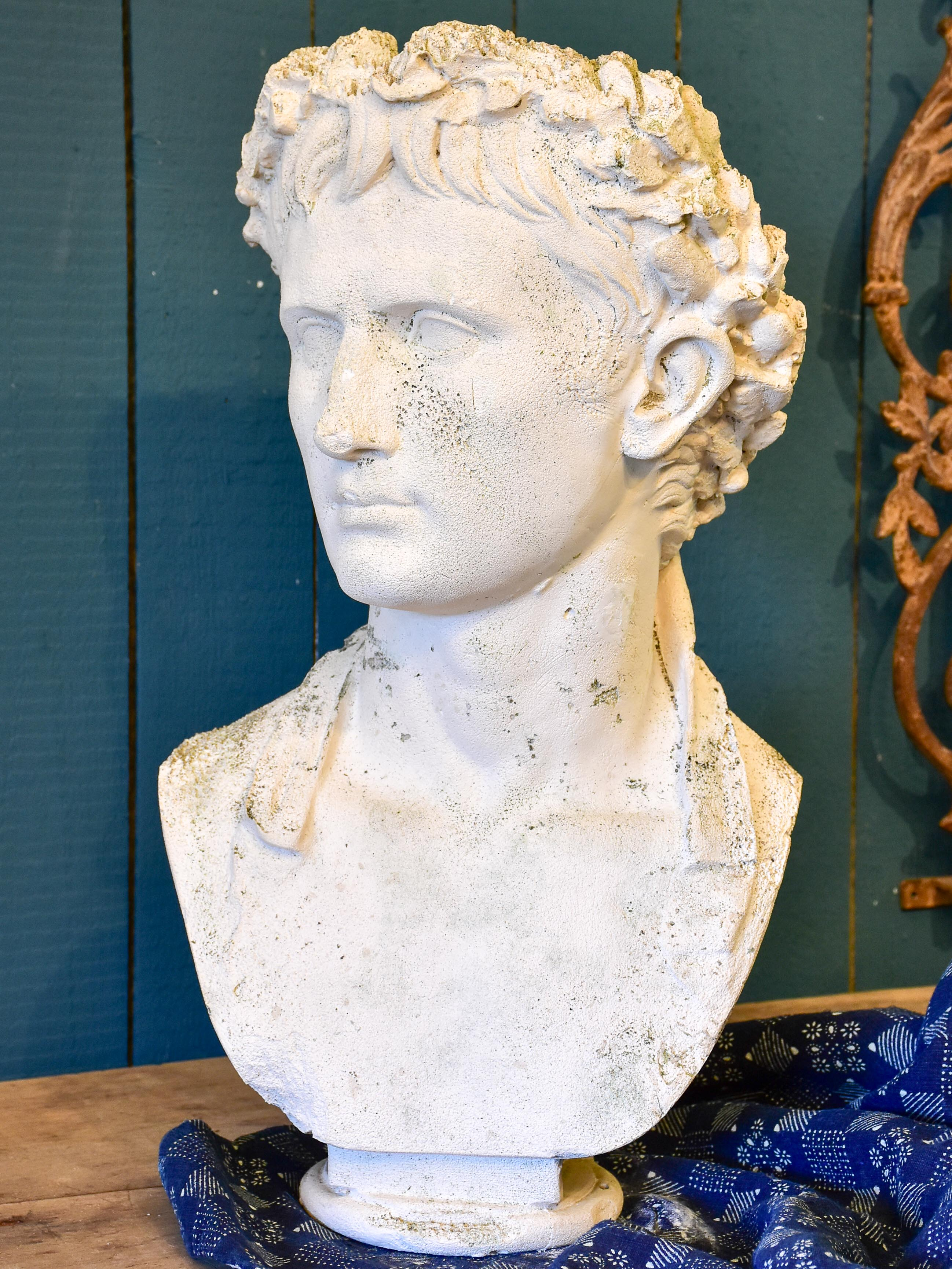 Antique French bust of Augustus wearing a crown