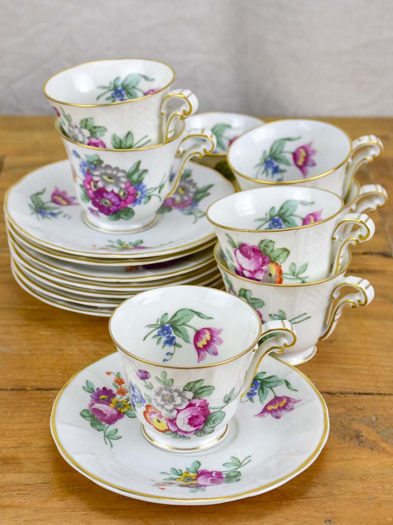 Set of eight coffee cups and saucers - Bernardaud & Co, Limoges