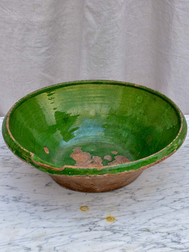 "19th Century French preserving bowl with green glaze 16½"" diameter"